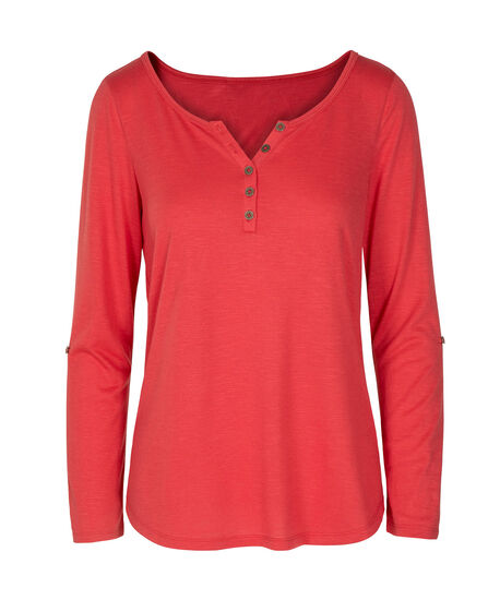 Roll Cuff Henley Top, Coral, hi-res