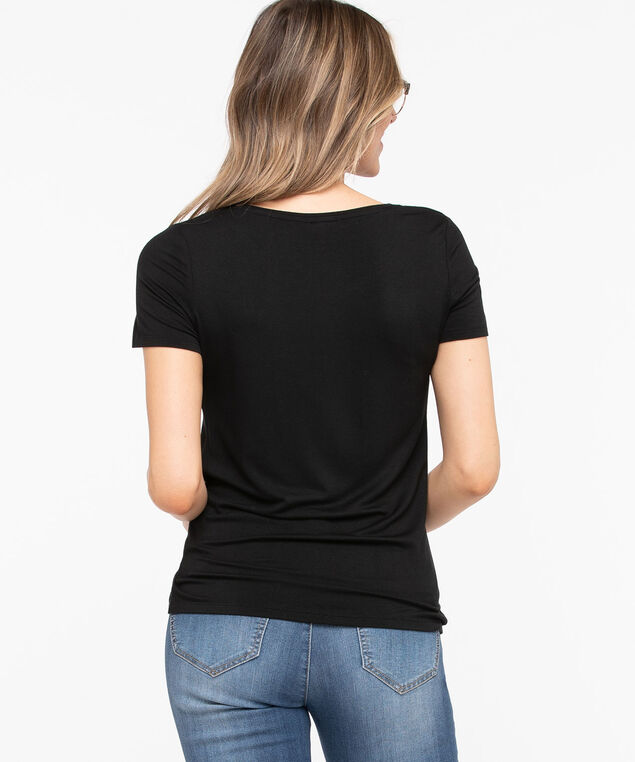Knot Front Short Sleeve Top, Black, hi-res