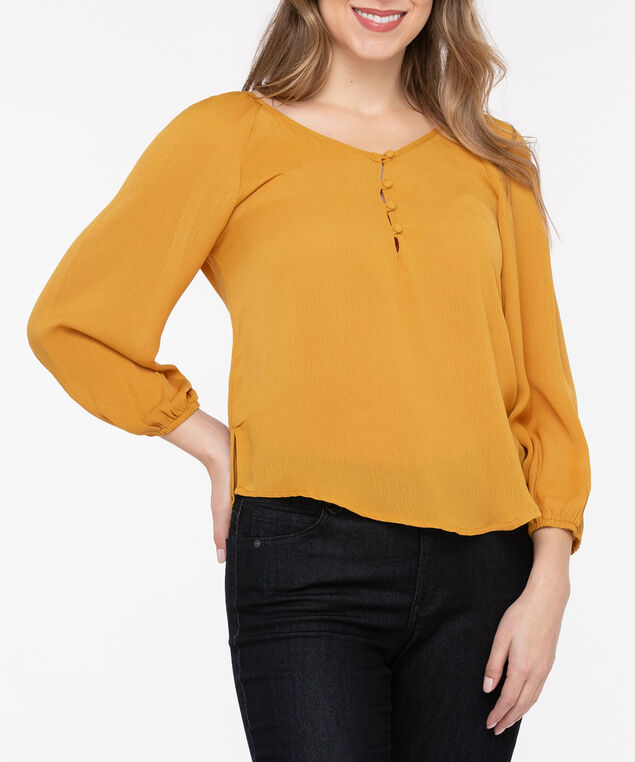 Sweetheart Neck Peasant Blouse, Marigold, hi-res