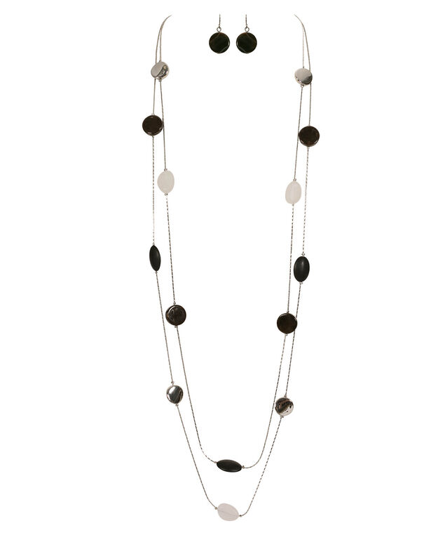 Stationed Bead Necklace Set, Black/White/Brown/Rhodium, hi-res