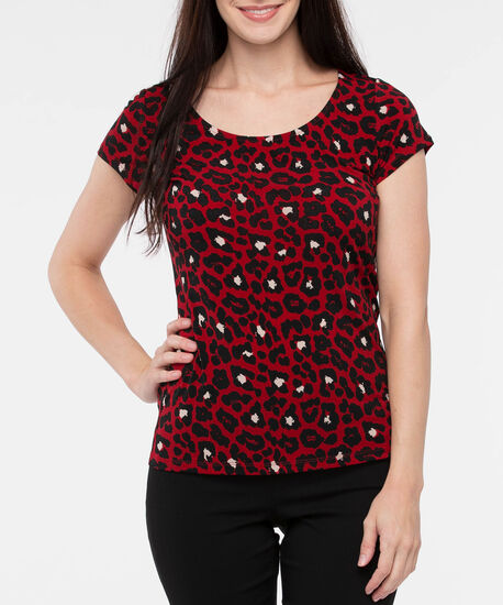 Short Sleeve Scoop Neck Top, Crimson/Almond/Black, hi-res