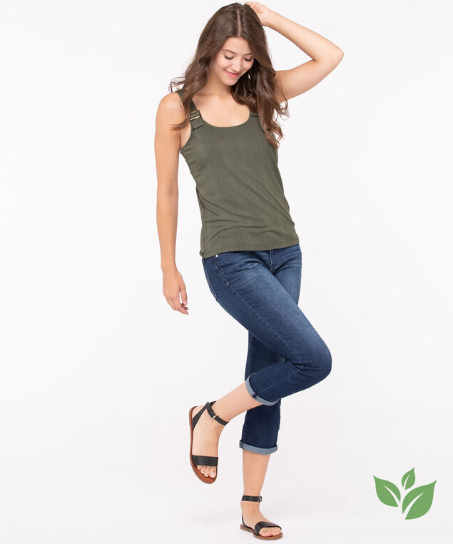 EcoVero™ Sleeveless Buckle Top, Green, hi-res