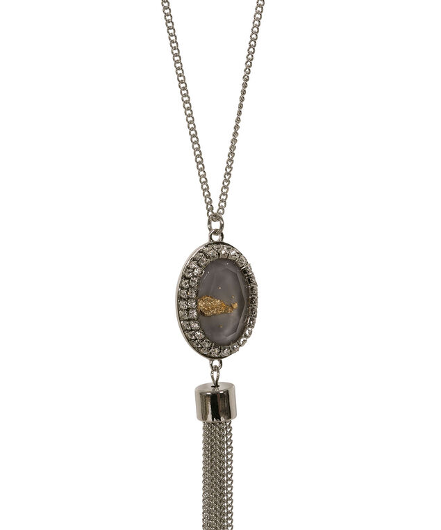 Stone & Tassel Pendant Necklace, Grey/Rhodium, hi-res