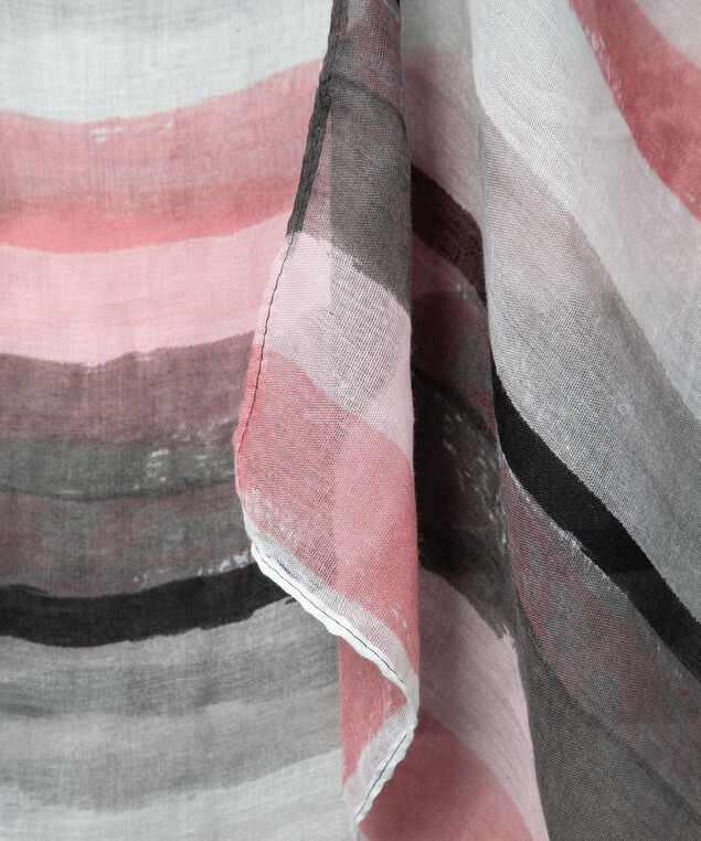 Watercolour Stripe Oblong Scarf, Rose Petal/Pearl/Grey, hi-res