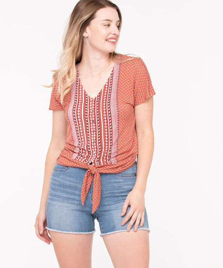 Button Up Short Sleeve Tie Knot Top, Cayenne/Paprika/Pearl, hi-res
