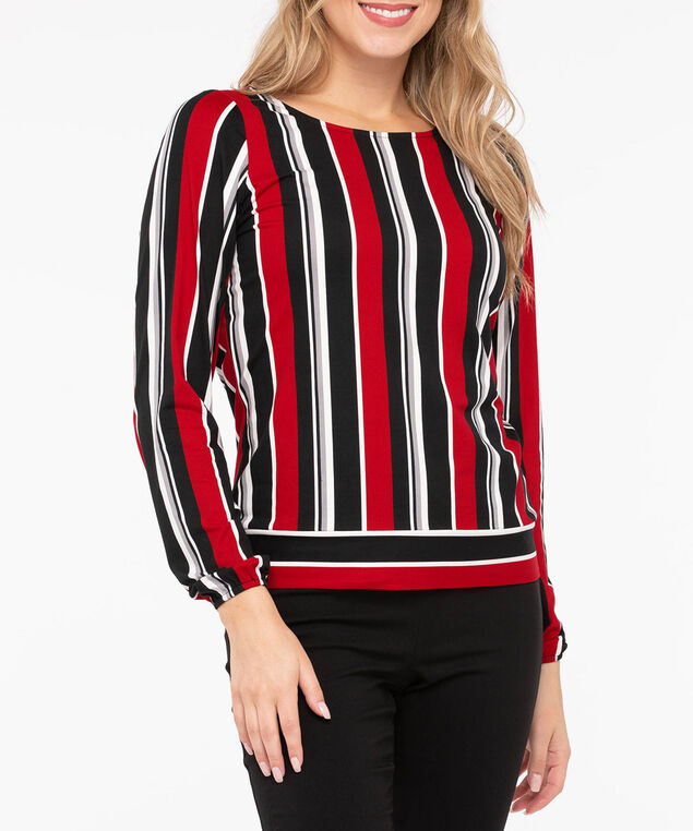 Long Sleeve Banded Bottom Top, Crimson/Black/Grey/Pearl, hi-res
