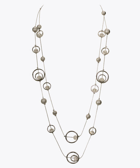 Multi-Strand Stationed O-Ring Necklace, Clear/Rhodium, hi-res
