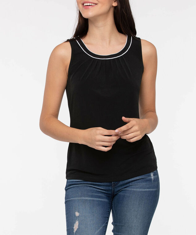 Sleeveless Pleat Neck Top, Black/Pearl, hi-res