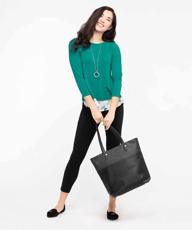 Textured Knit Fooler Hem Top, Jade/Pearl, hi-res