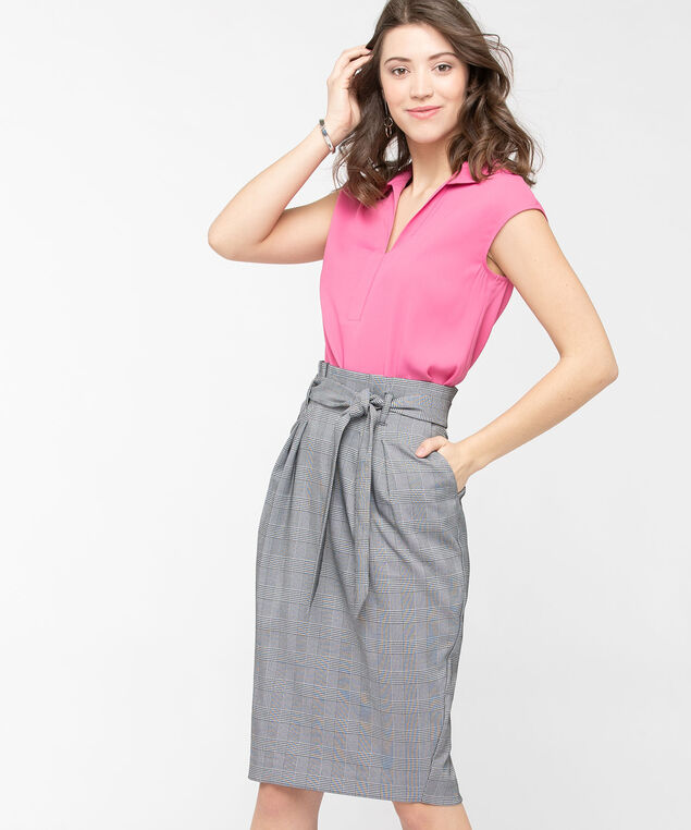 Collared Extended Sleeve Blouse, Mid Pink, hi-res