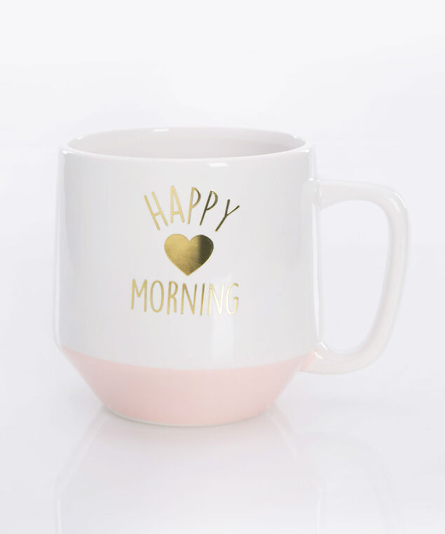 Happy Morning Jumbo Mug, True White/Cameo Pink/Gold, hi-res