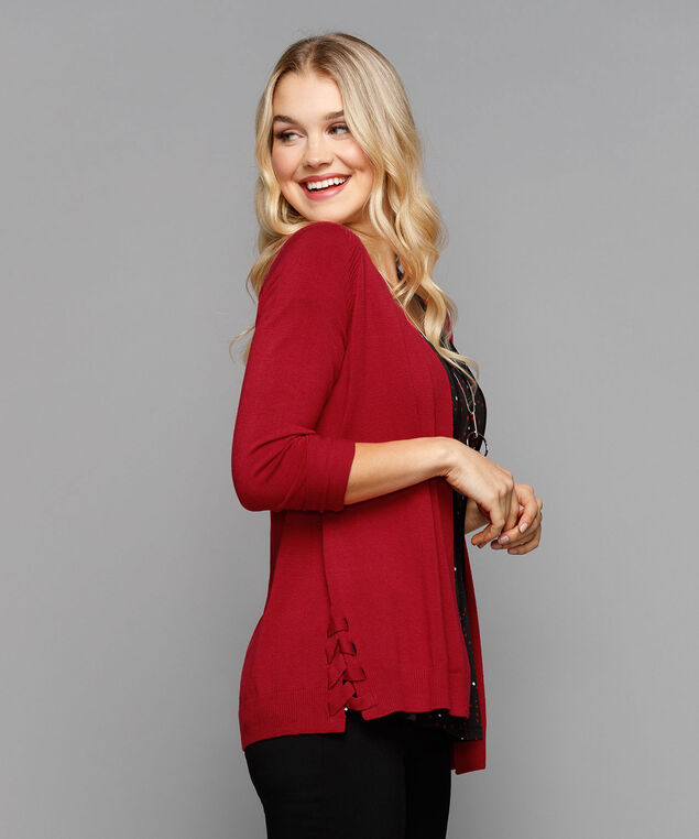 Lace Up Open Cardigan, Cherry, hi-res