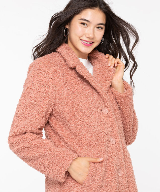 Teddy Bear Faux Fur Coat, Soft Blush, hi-res