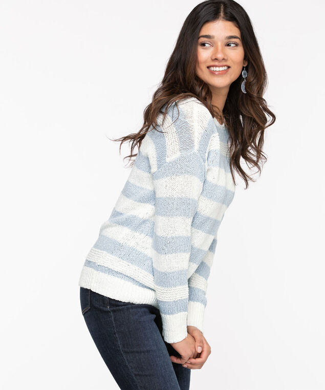 Stripe Slub Knit Pullover Sweater, Heather/Whisper White