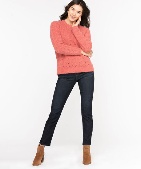 Chenille Pointelle Sweater, Dusty Cedar, hi-res