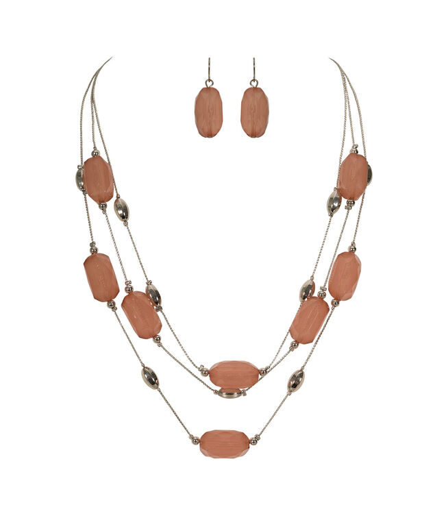 Faceted Stone Necklace Set, Blush/Rhodium, hi-res