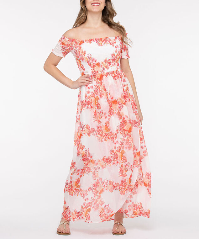 Smocked Off-The-Shoulder Maxi Dress, Coral/Pearl, hi-res