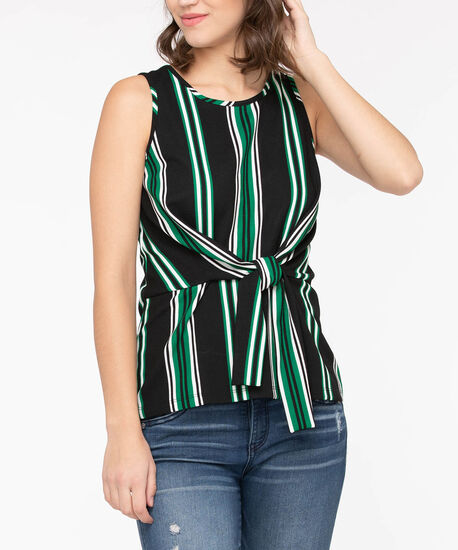 Sleeveless Tie Front Stripe Top, Black/Pearl/Deep Green, hi-res