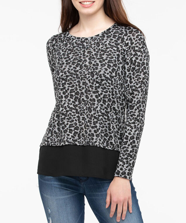 Leopard Print Fooler Top, Black/Charcoal/Grey, hi-res