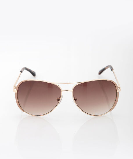 Enamel Aviator Sunglasses, Gold/Petal Pink, hi-res