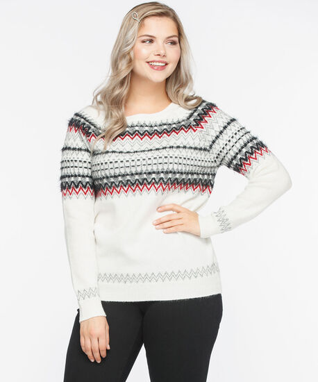 Fair Isle Lurex Pullover Sweater, Pearl/Crimson/Black, hi-res
