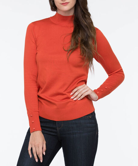 Mock Turtleneck Sweater, Pumpkin, hi-res