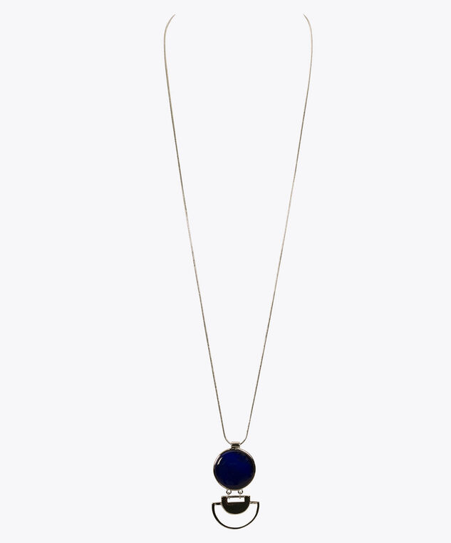 Cateye Stone Circle Pendant Necklace, Deep Sapphire/Rhodium, hi-res
