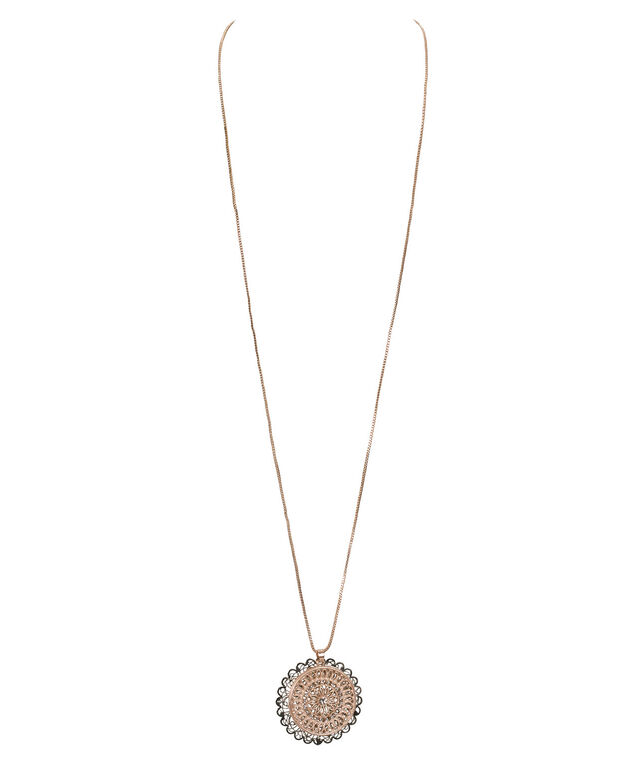 Double Filigree Mixed Metal Necklace, Rose Gold/Rhodium, hi-res