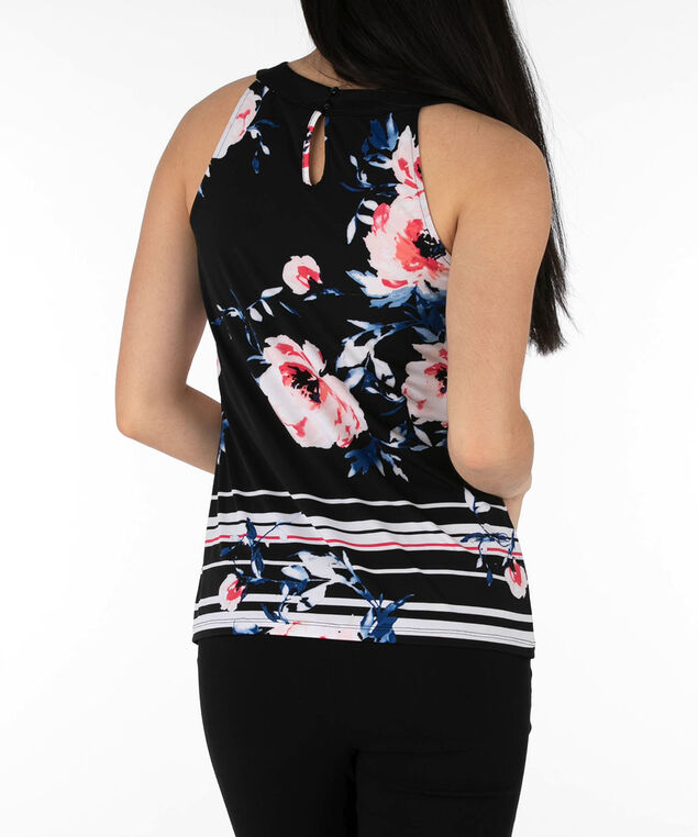 Gathered Neck Halter Top, Black/Coral/Blue, hi-res