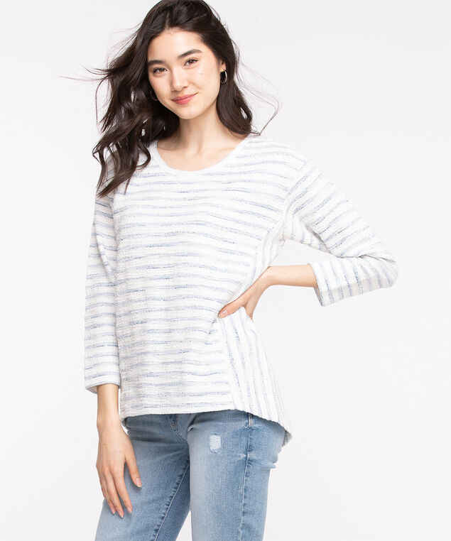 Beach Stripe Scoop Neck Top, Heather/Snow White