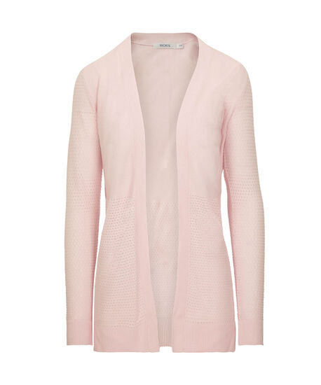 Perforated Ribbed Open Cardigan, Iced Pink, hi-res