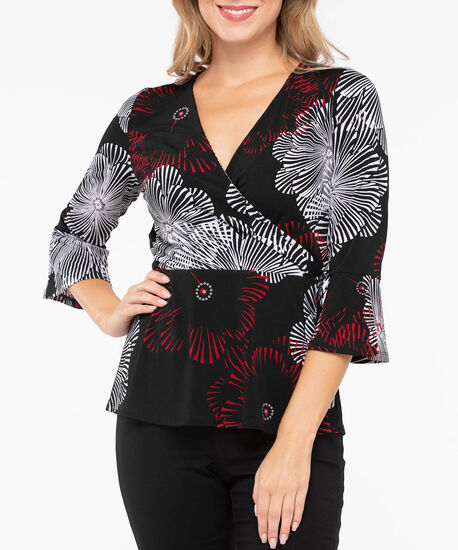 Flounce Sleeve Crossover Top, Black/Crimson/Pearl, hi-res