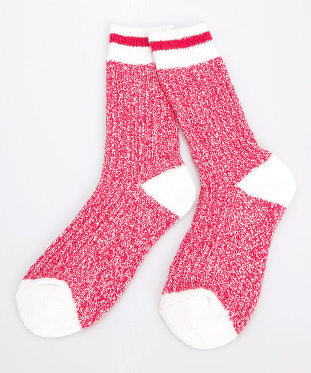 Cozy Cabin Socks, Crimson/Pearl, hi-res