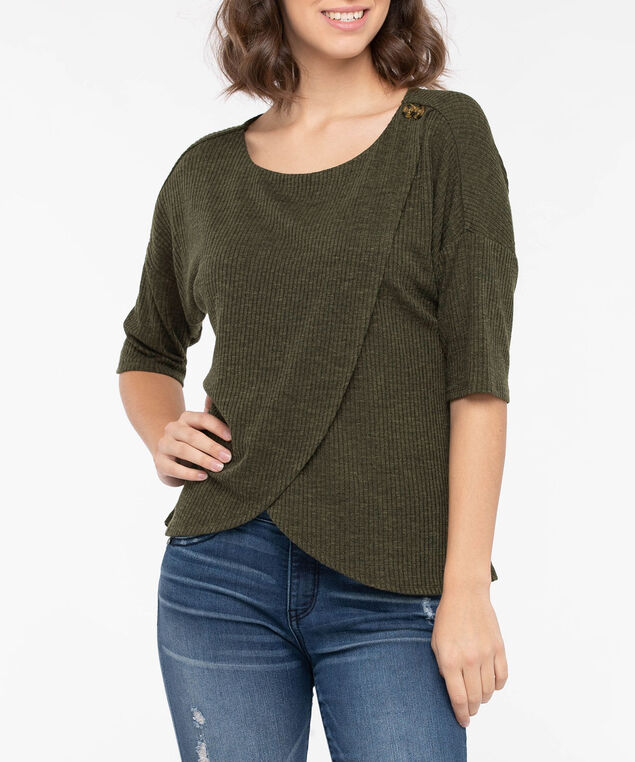 Button Detail Tulip Hem Top, Autumn Olive, hi-res