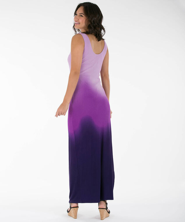 Ombre Side Ruched Maxi Dress, Purple/Iced Violet, hi-res