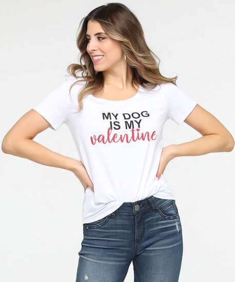 Dog Valentine Scoop Neck Tee, True White/Black/Crimson, hi-res
