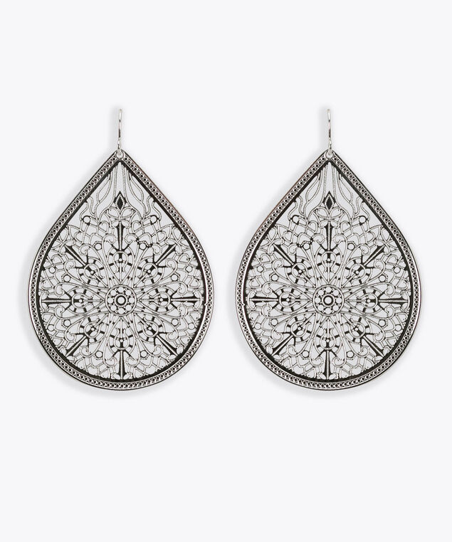 Floral Filigree Teardrop Earring, Rhodium, hi-res