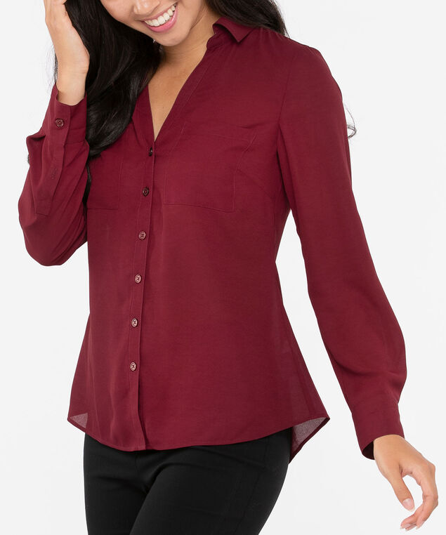 Button Front Collared Blouse, Burgundy, hi-res