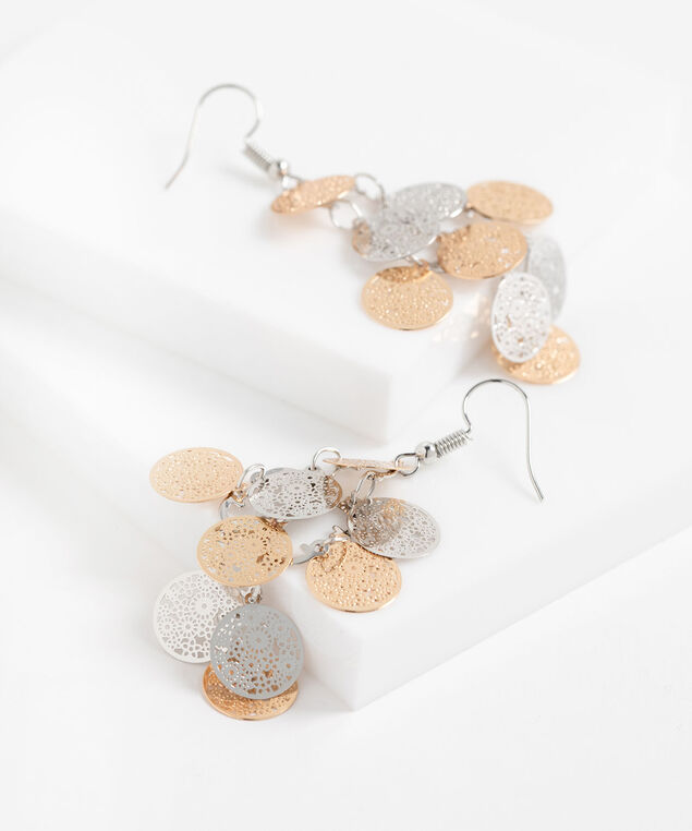 Medallion Chandelier Earrings, Silver/Gold