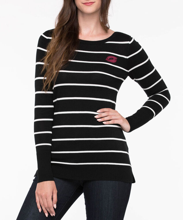 Embroidered Lip Graphic Striped Sweater, Black/Pearl/Black Cherry, hi-res