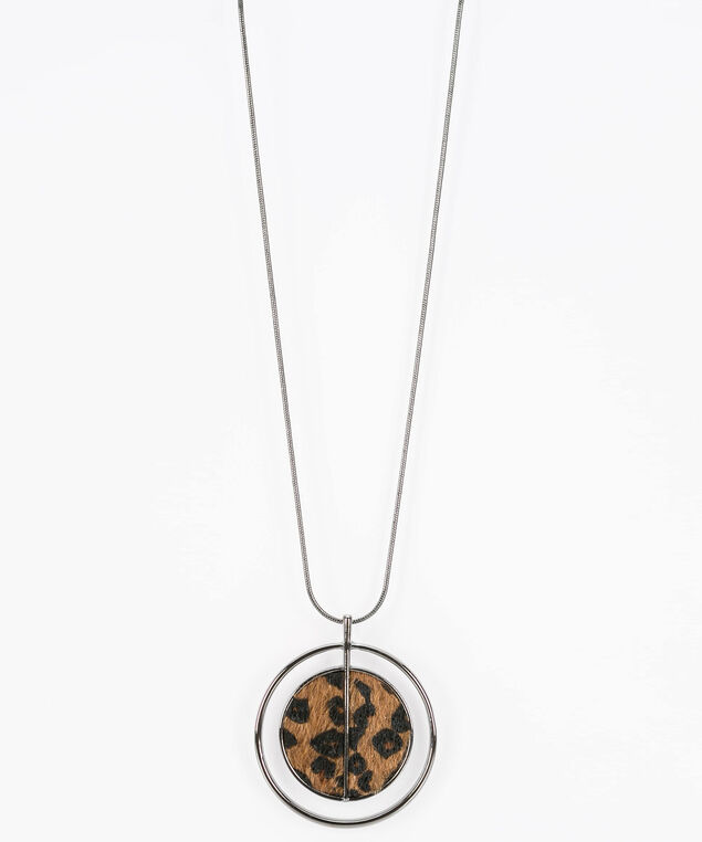 Leopard Pendant Necklace, Hematite/Black/Almond, hi-res