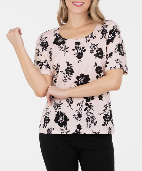 Floral Dolman Sleeve Knit Top, Cameo Pink/Black, hi-res