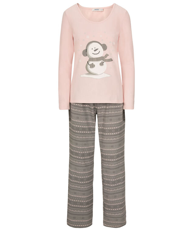 Snowman Pajama Set, Pale Pink/Grey, hi-res