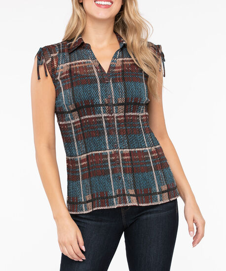 Button Front Accordian Pleat Blouse, Brown/Camel/Steel Blue, hi-res