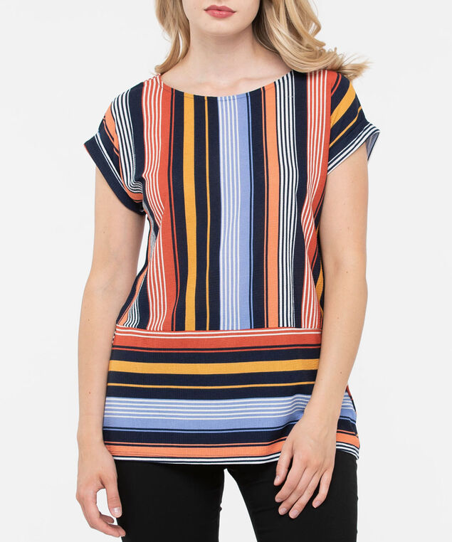 Multi-Coloured Striped Knit Top, Rust/Mustard/Navy, hi-res