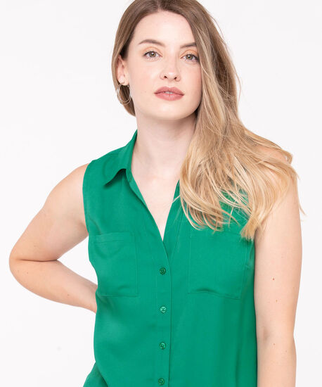 Sleeveless Button-Front Collared Shirt, Kelly Green, hi-res