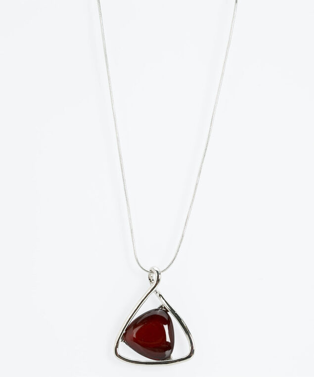 Silver Triangle & Cateye Necklace, Dark Rust/Rhodium, hi-res
