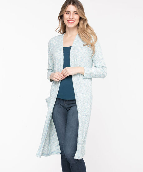 Waffle Knit Open Duster Cardigan, Angel Blue Mix, hi-res