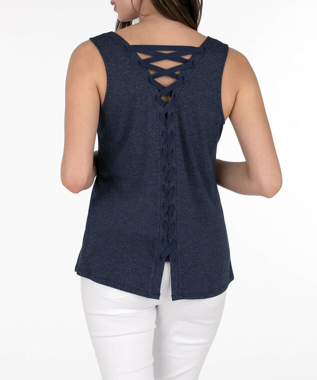 Lace-Up Back Sleeveless Top, Summer Navy, hi-res