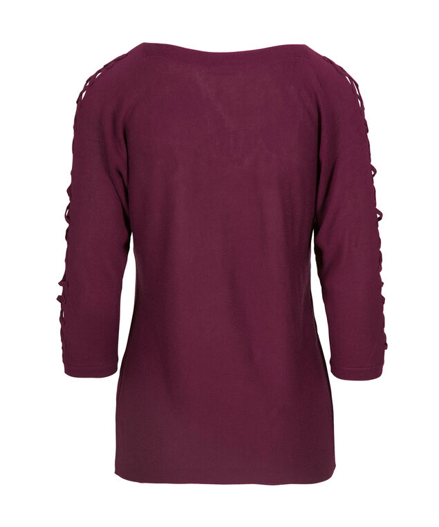 Lace-Up Sleeve Pullover Sweater, Black Cherry, hi-res